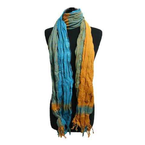 Peach Couture Turquoise/ Orange Plaid Crinkle Scarf