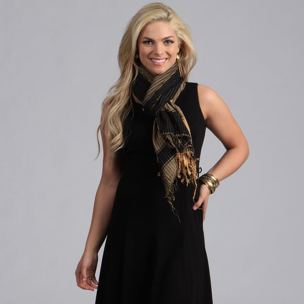 Peach Couture Black/ Tan Plaid Crinkle Scarf. Opens flyout.
