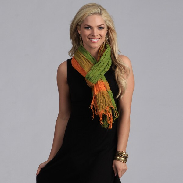 Peach Couture Orange/ Green Plaid Crinkle Scarf