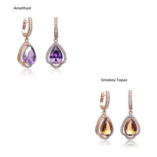 Collette Z Rose-plated Sterling Silver Colored and Clear Cubic Zirconia Earrings