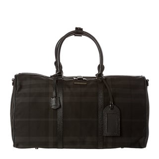 Burberry Large Black Nylon Beat Check Duffle Bag