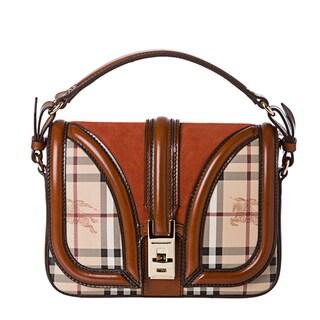 Burberry Small Haymarket Rust Suede Panel Cross-body Bag