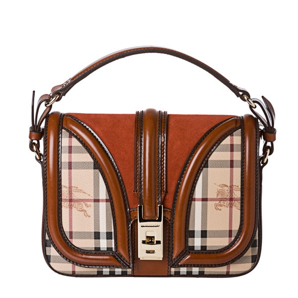 Burberry Small Haymarket Rust Suede Panel Cross-body Bag