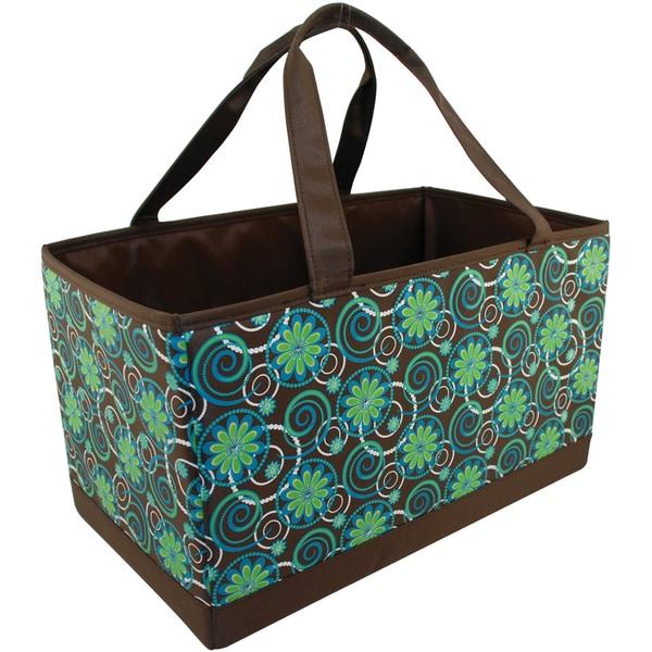 Mackinac Moon Large Yarn Organizer-Flower/Circle Print-Teal/Green/Brown