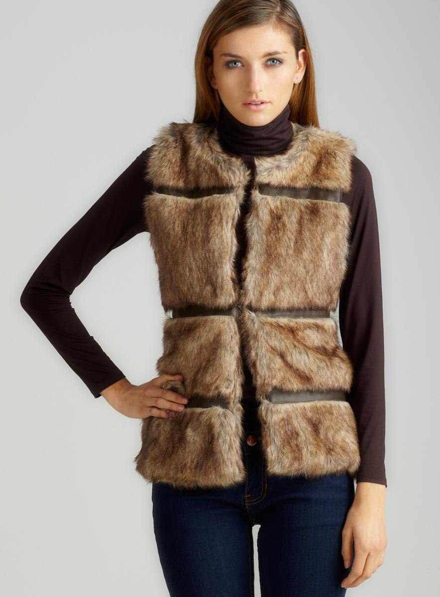 Members Only Pieced Leather Faux Fur Vest