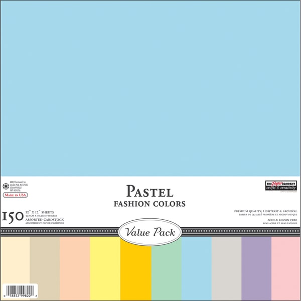"Big Pack Cardstock Assortment 12""X12""-Pastel 150/Pkg"