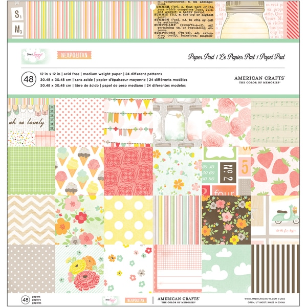 "Dear Lizzy Neapolitan Paper Pad 12""X12""-24 Different Patterns/ 2 Each"