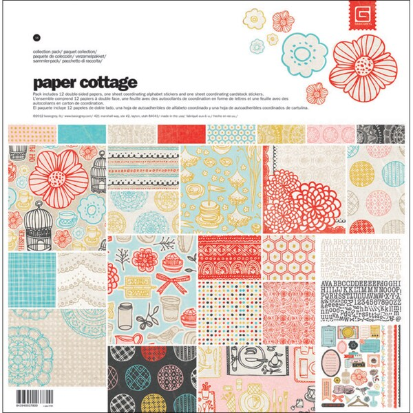 "Paper Cottage Collection Pack 12""X12""-1 Alpha & 1 Element Stickers + 12 Papers"