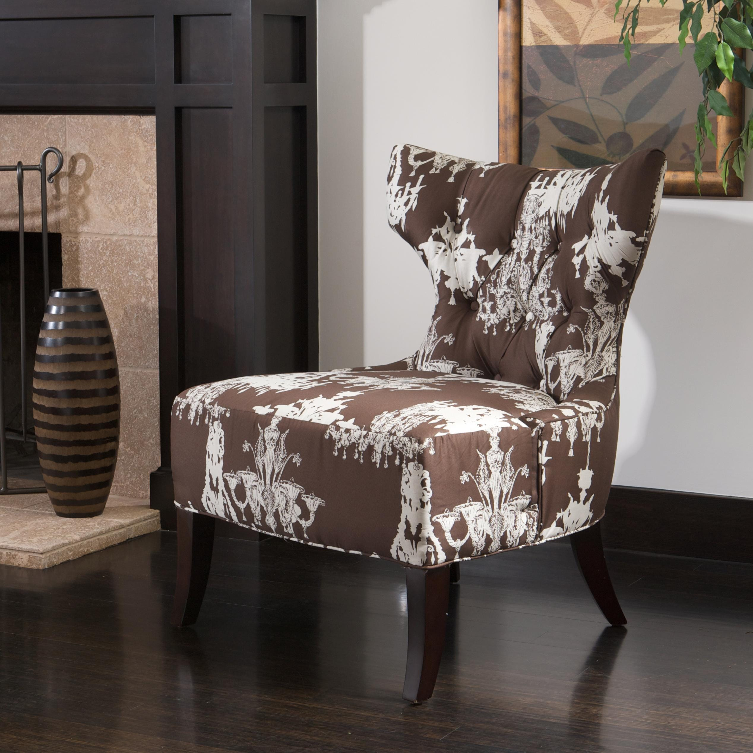 Chandelier Print Fabric Brown White Accent Chair Free