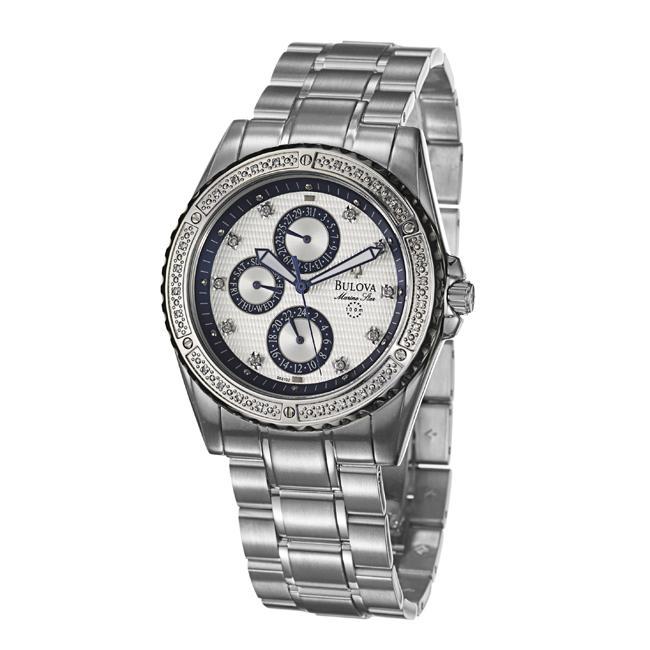 Bulova Mens Marine Star Stainless Steel Quartz Diamond Watch