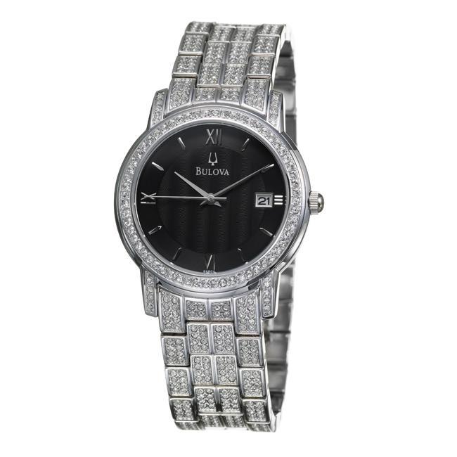 bulova men s crystal stainless steel quartz crystal watch bulova men s crystal stainless steel quartz crystal watch