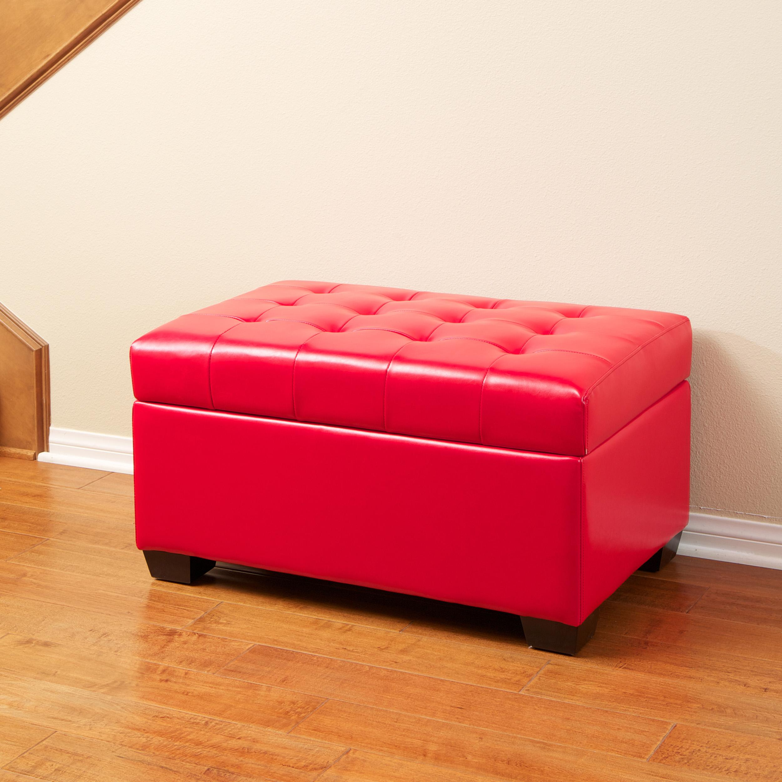 Lima Red Bonded Leather Storage Ottoman by Christopher Knight Home
