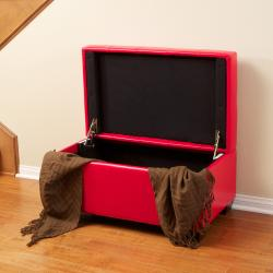 Lima Red Bonded Leather Storage Ottoman by Christopher Knight Home - Thumbnail 1