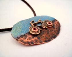 My Three Metals Copper Half-enameled, Half-hammered Bike Necklace