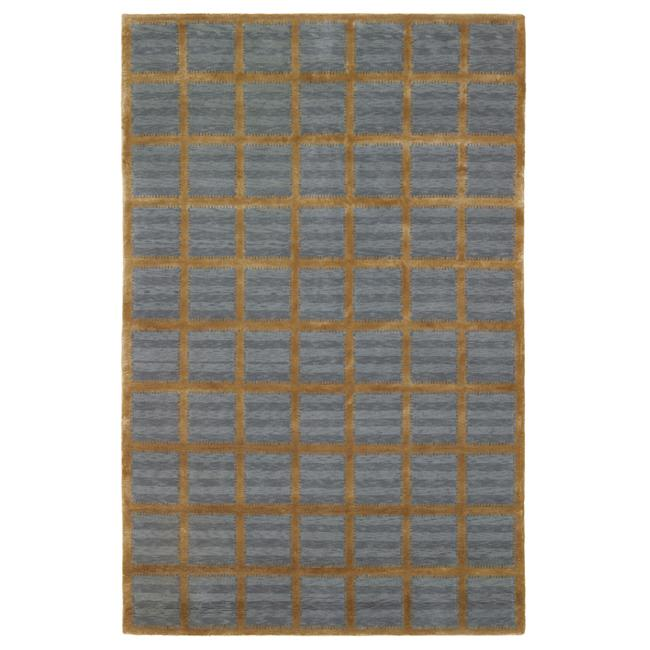 Hand-knotted Agra Mini Squares Blue Wool Rug (5' x 8')