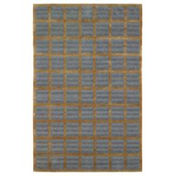 Hand-knotted Agra Mini Squares Blue Wool Rug (5' x 8') - Thumbnail 2