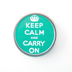 Silverplated Green 'Keep Calm and Carry On' Necklace - Thumbnail 1