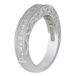 Miadora 18k White Gold Women's 1ct TDW Diamond Curved Wedding Band (G-H, SI1-SI2) - Thumbnail 1