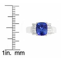 D'Yach 14k White Gold Tanzanite and 1/2ct TDW Diamond Ring (I-J, I1-I2) - Thumbnail 2