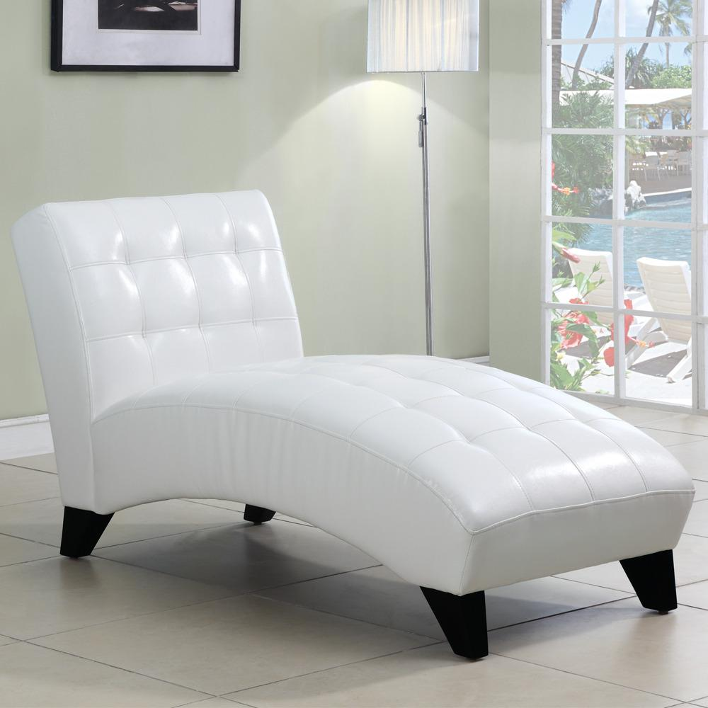 Axis White Faux Leather Chaise Lounge Chair Free