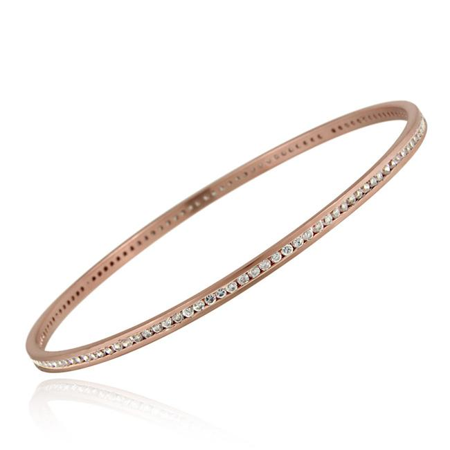 Icz Stonez Rose Gold over  Sterling Silver Cubic Zirconia Bangle Bracelet