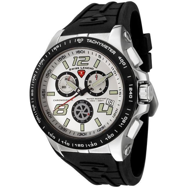 Swiss Legend Men's Sprint Racer Black Silicone Chronograph Watch