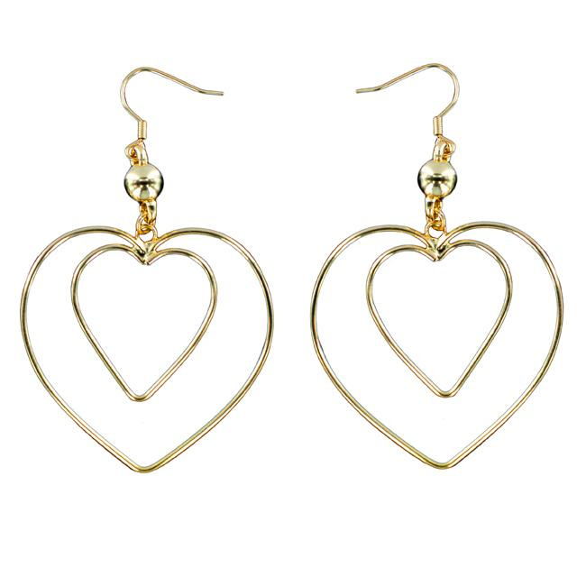 West Coast Jewelry Goldtone 'Heart Within a Heart' Wire Dangle Earrings
