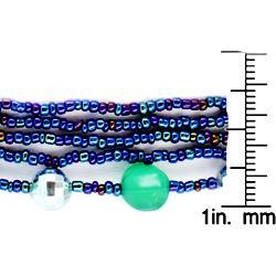 West Coast Jewelry Silvertone Multi-strand Blue Beaded Necklace