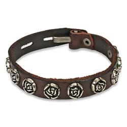 Vintage Steel Rose Button Leather Bracelet
