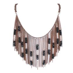 West Coast Jewelry Bronze-colored Chain Link and Black Bead Bib Necklace