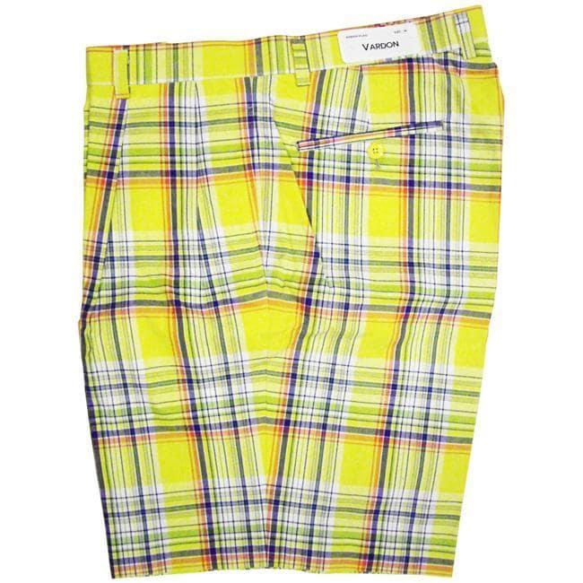 Vardon Men S Yellow Plaid Golf Shorts Free Shipping On