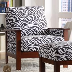 Hills Zebra Print Chair With Ottoman Free Shipping Today