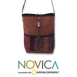 Cotton 'Impressive Brown' Medium Shoulder Bag (Thailand)