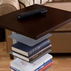 Cam Espresso Silver Multi Shelf Side Table Free