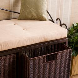 Luna Espresso Basket Storage Bench - Thumbnail 1