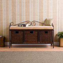 Luna Espresso Basket Storage Bench - Thumbnail 2