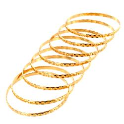 West Coast Jewelry Goldplated Stackable Textured 8-pc Bangle Set