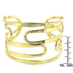 West Coast Jewelry Goldtone Cut-out Cuff Bracelet - Thumbnail 2