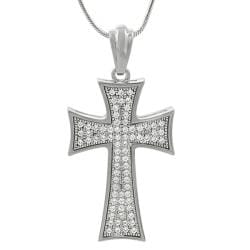 Journee Sterling Silver Cubic Zirconia Micropave-set Cross Necklace