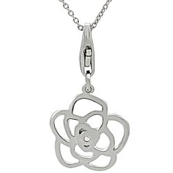Sterling Silver Diamond Accent Flower Necklace