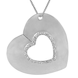 Sterling Silver 1/4ct TDW Diamond Accent Heart Necklace (J-K, I2-I3)