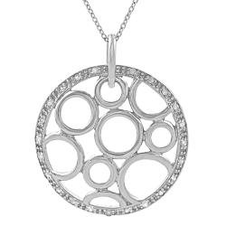 Sterling Silver 1/4ct TDW Diamond Chip Circles Necklace