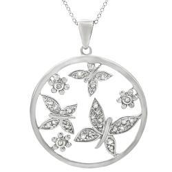Sterling Silver 3/4ct TDW Diamond Butterflies Necklace (J-K, I2-I3)