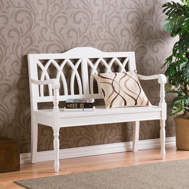 Loma Antique White Finish Wood Bench