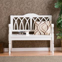 Loma Antique White Finish Wood Bench - Thumbnail 2