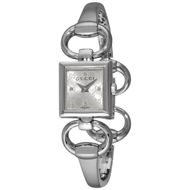 736fa6d17 Shop Gucci Women's 'Tornabuoni' Silver Dial Bangle Watch - Free Shipping  Today - Overstock - 5540941
