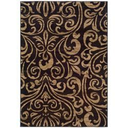 Indoor Black/Brown Abstract Area Rug (5' x 7'6) - Thumbnail 0