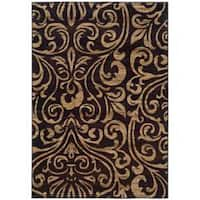 Indoor Black/Brown Abstract Area Rug - 5' x 7'6