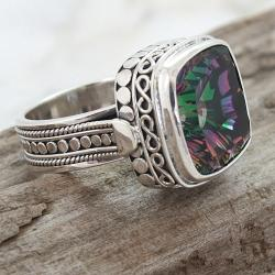 Handmade Sterling Silver Square Mystic Fire Quartz Charming Ring (Indonesia) - Thumbnail 1