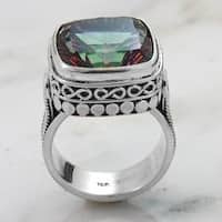 Handmade Sterling Silver Square Mystic Fire Quartz Charming Ring (Indonesia)